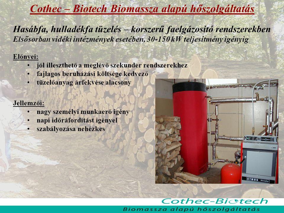 Cothec – Biotech Biomassza alapú hőszolgáltatás Hasábfa, hulladékfa tüzelés – korszerű faelgázosító rendszerekben Elsősorban vidéki intézmények esetéb