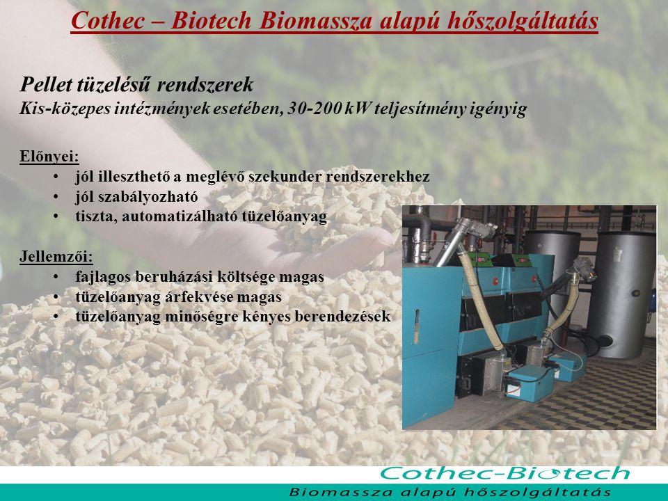 Cothec – Biotech Biomassza alapú hőszolgáltatás Pellet tüzelésű rendszerek Kis-közepes intézmények esetében, 30-200 kW teljesítmény igényig Előnyei: j