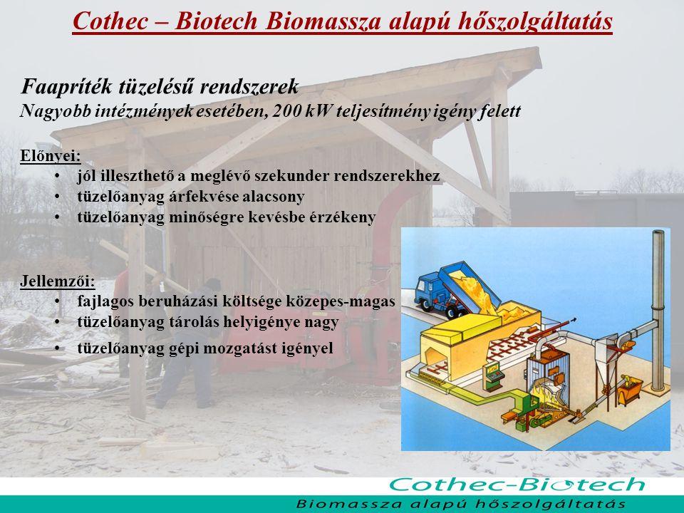 Cothec – Biotech Biomassza alapú hőszolgáltatás Faapríték tüzelésű rendszerek Nagyobb intézmények esetében, 200 kW teljesítmény igény felett Előnyei: