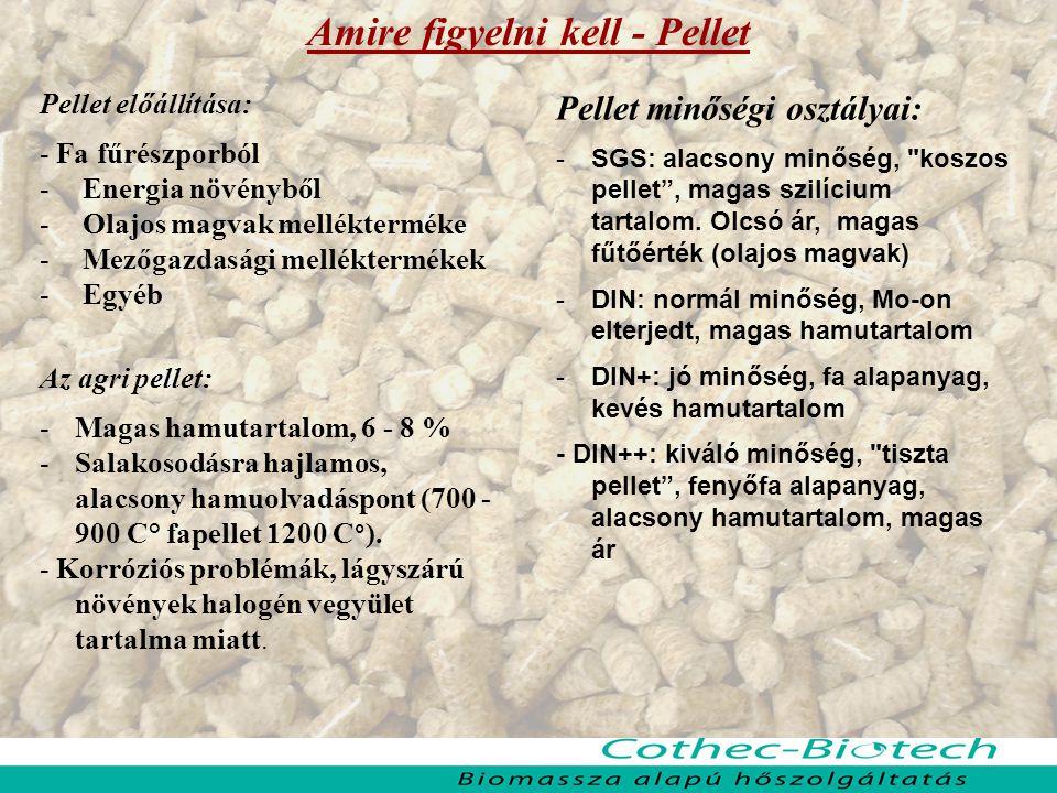 Amire figyelni kell - Pellet Pellet előállítása: - Fa fűrészporból - Energia növényből - Olajos magvak mellékterméke - Mezőgazdasági melléktermékek -