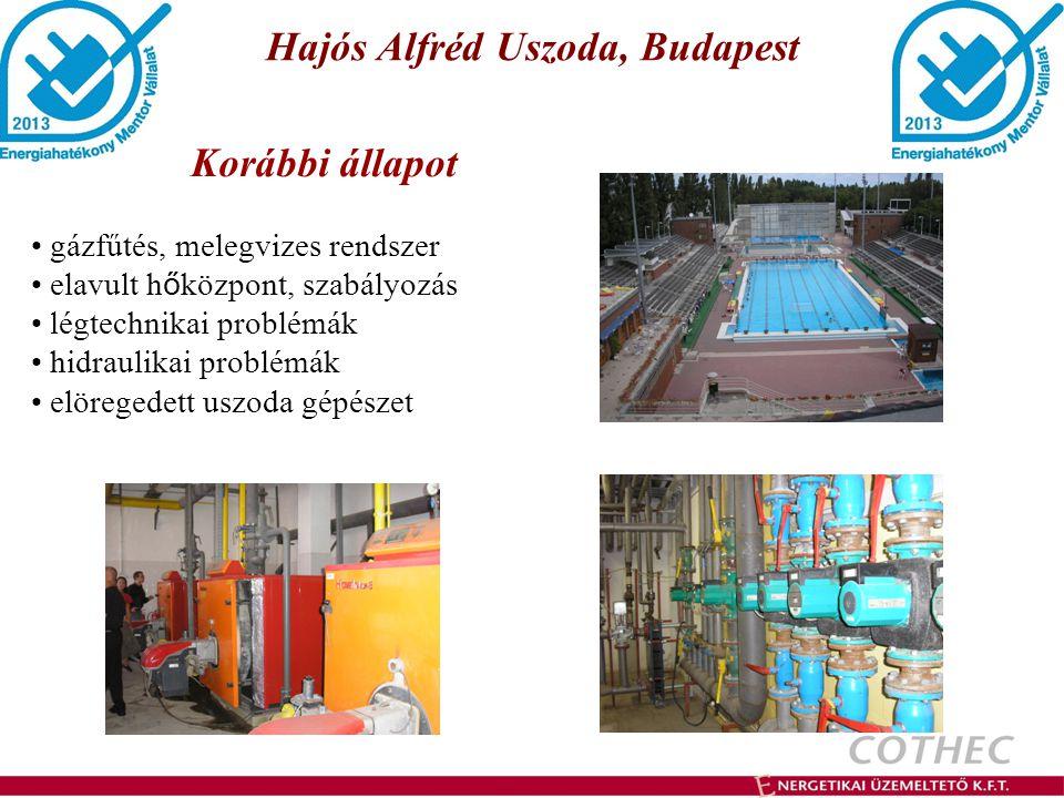 Hajós Alfréd Uszoda, Budapest gázfűtés, melegvizes rendszer elavult h ő központ, szabályozás légtechnikai problémák hidraulikai problémák elöregedett