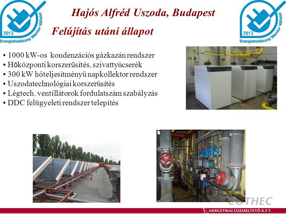 Hajós Alfréd Uszoda, Budapest Felújítás utáni állapot 1000 kW-os kondenzációs gázkazán rendszer H ő központi korszer ű sítés, szivattyúcserék 300 kW h