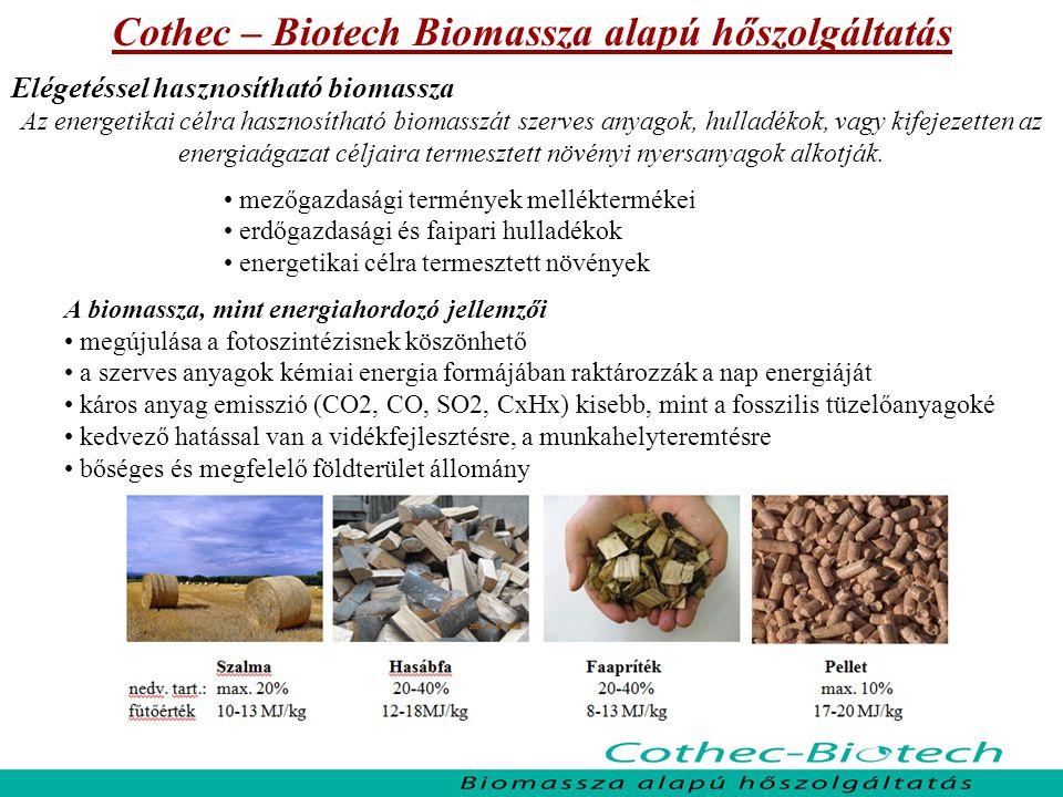 Cothec – Biotech Biomassza alapú hőszolgáltatás Hasábfa, hulladékfa tüzelés – korszerű faelgázosító rendszerekben Elsősorban vidéki intézmények esetében, 30-150 kW teljesítmény igényig Előnyei: jól illeszthető a meglévő szekunder rendszerekhez fajlagos beruházási költsége kedvező tüzelőanyag árfekvése alacsony Jellemzői: nagy személyi munkaerő igény napi időráfordítást igényel szabályozása nehézkes