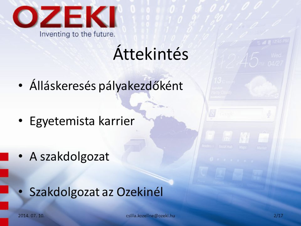 Áttekintés Álláskeresés pályakezdőként Egyetemista karrier A szakdolgozat Szakdolgozat az Ozekinél 2014. 07. 10.csilla.kozellne@ozeki.hu2/17