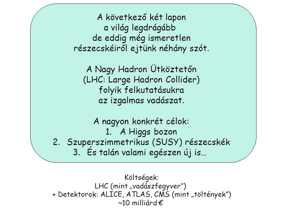 3 * 6 = 18 kvark + 6 lepton (+ 24 anti-részecske) [ Spin = ½ (Fermionok)] , 8 gluon,W +,W -,Z 0 [Spin = 1 (Bozonok)] A Standard modell részecskéi: Kv