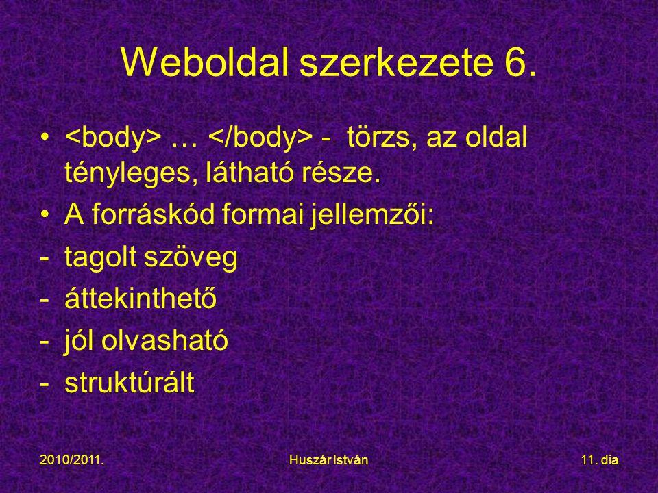 2010/2011.Huszár István11.dia Weboldal szerkezete 6.