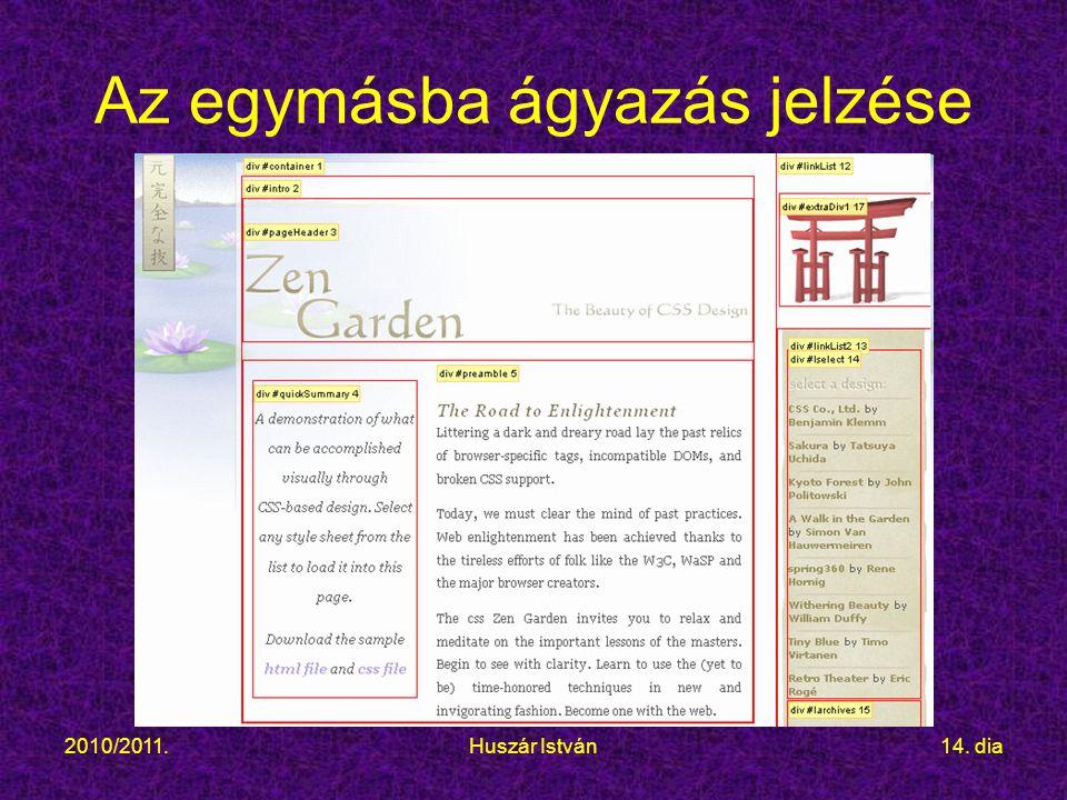 2010/2011.Huszár István14. dia Az egymásba ágyazás jelzése