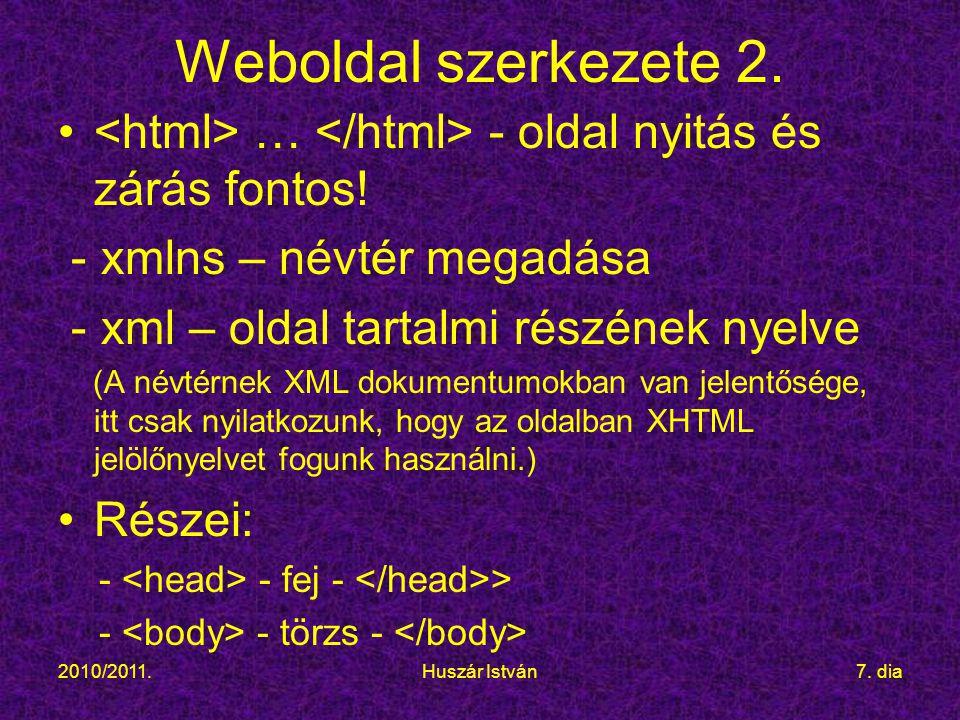 2010/2011.Huszár István7.dia Weboldal szerkezete 2.