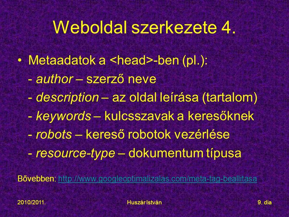 2010/2011.Huszár István9.dia Weboldal szerkezete 4.