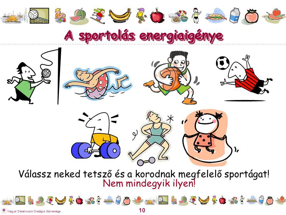10 Magyar Dietetikusok Országos Szövetsége A sportolás energiaigénye Válassz neked tetsző és a korodnak megfelelő sportágat! Nem mindegyik ilyen!