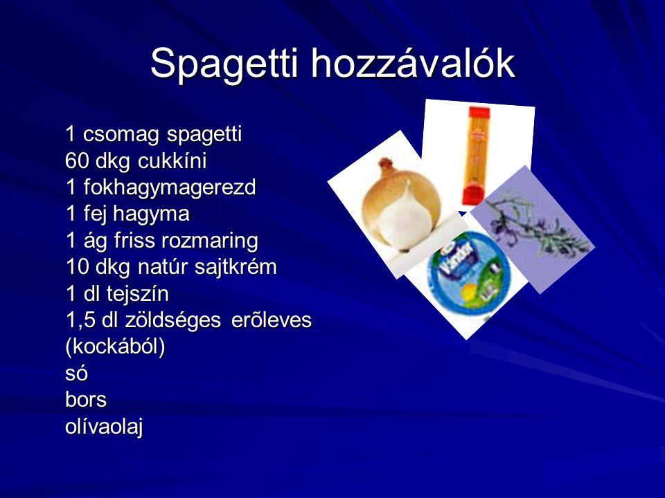 Spagetti hozzávalók 1 csomag spagetti 60 dkg cukkíni 1 fokhagymagerezd 1 fej hagyma 1 ág friss rozmaring 10 dkg natúr sajtkrém 1 dl tejszín 1,5 dl zöl