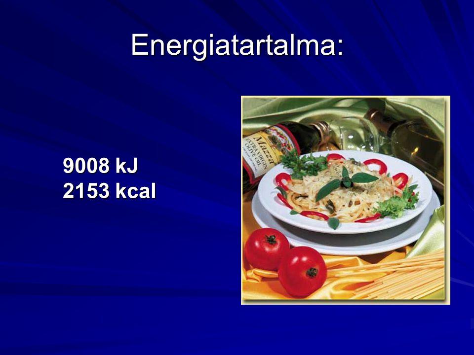 Energiatartalma: 9008 kJ 2153 kcal