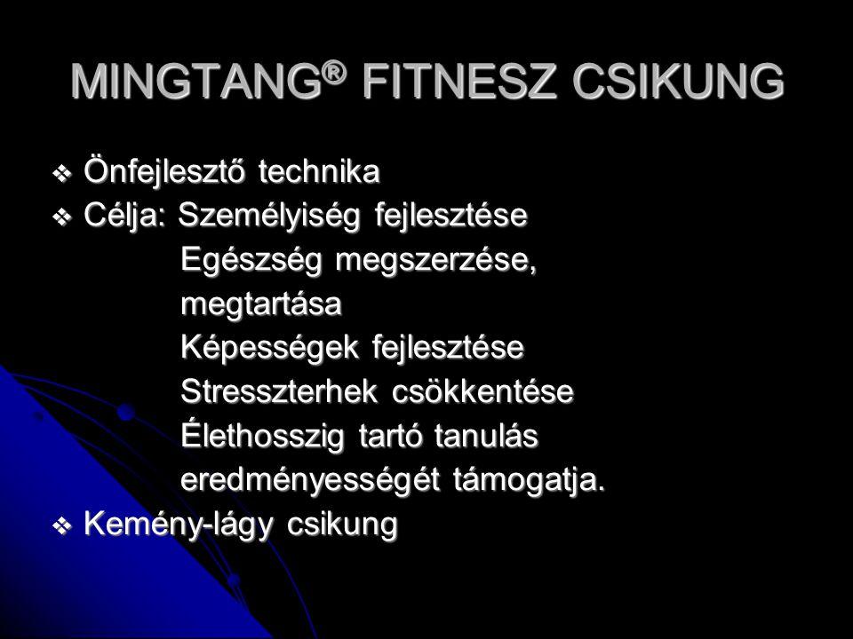 MINGTANG ® FITNESZ CSIKUNG  Önfejlesztő technika  Célja: Személyiség fejlesztése Egészség megszerzése, Egészség megszerzése, megtartása megtartása K