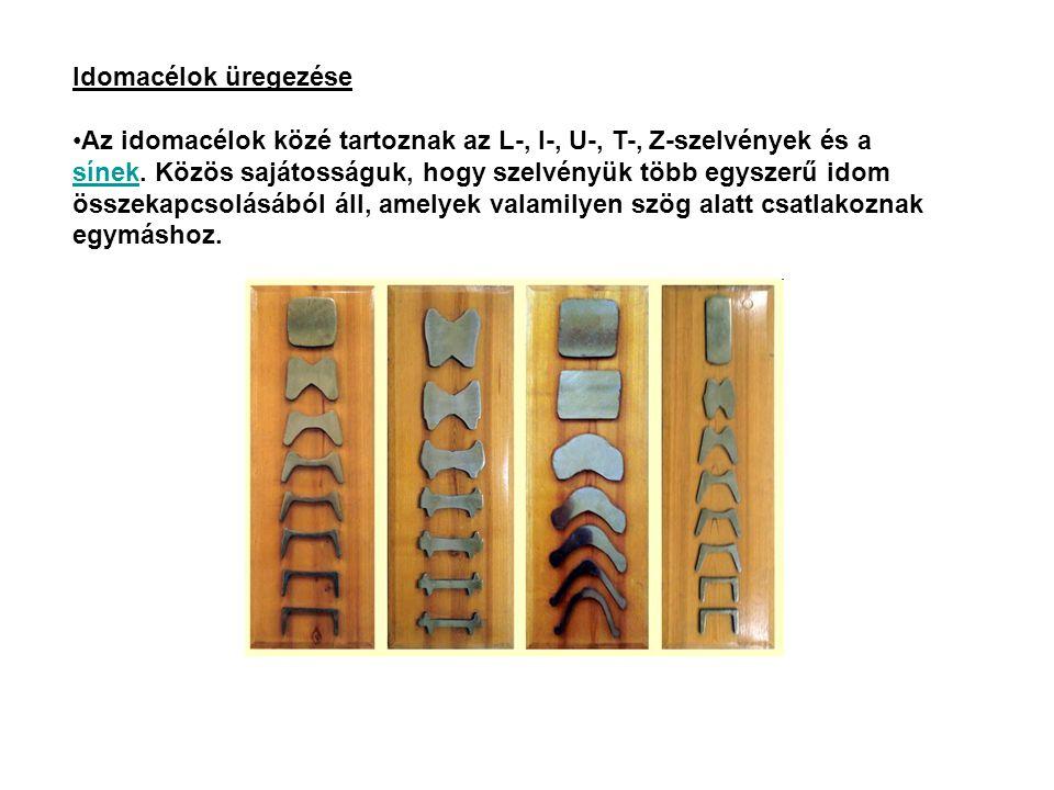 Idomacélok üregezése Az idomacélok közé tartoznak az L-, I-, U-, T-, Z-szelvények és a sínek. Közös sajátosságuk, hogy szelvényük több egyszerű idom ö