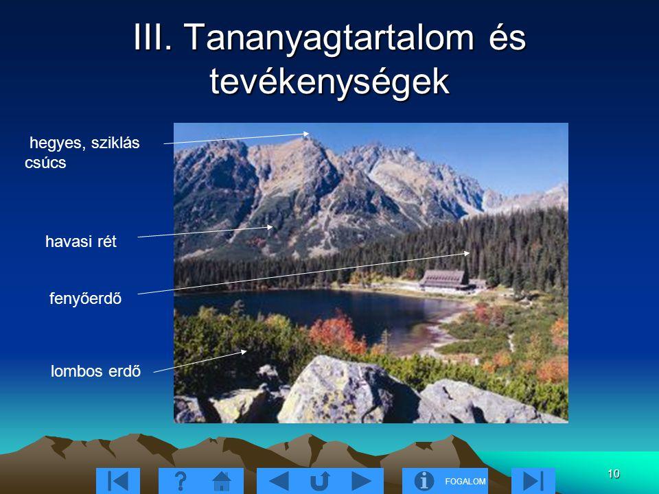 FOGALOM 10 III. Tananyagtartalom és tevékenységek hegyes, sziklás csúcs havasi rét fenyőerdő lombos erdő