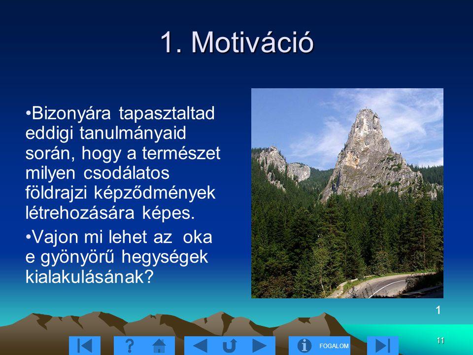 FOGALOM 11 1. Motiváció Bizonyára tapasztaltad eddigi tanulmányaid során, hogy a természet milyen csodálatos földrajzi képződmények létrehozására képe