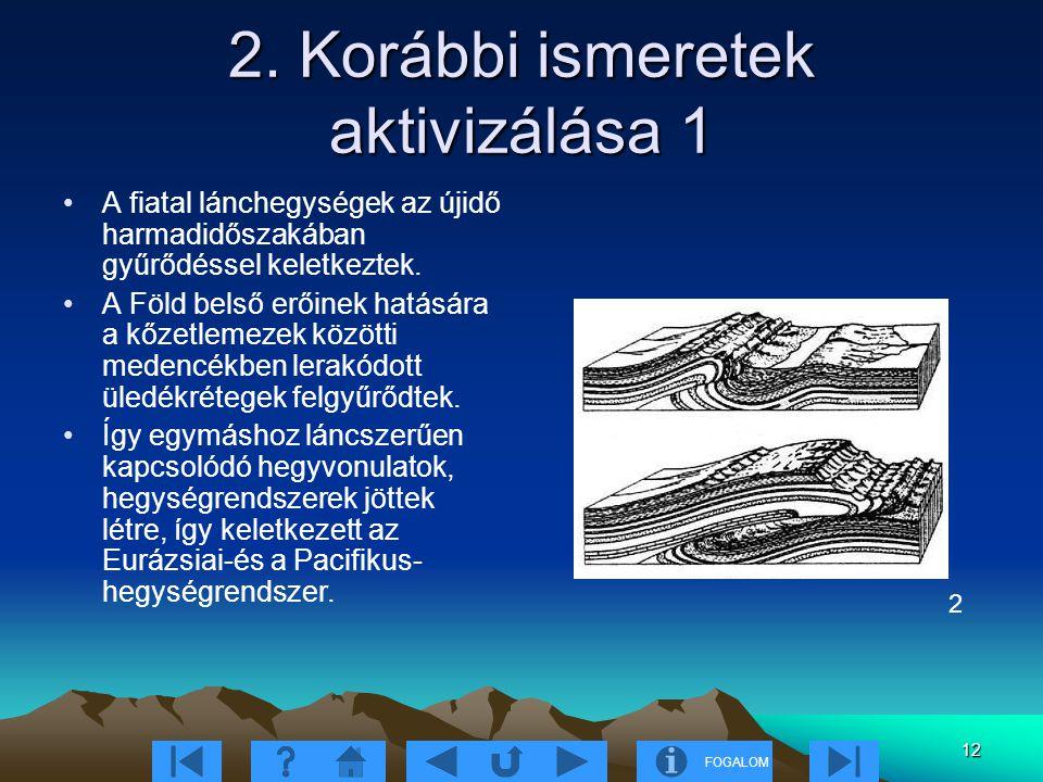 FOGALOM 12 2. Korábbi ismeretek aktivizálása 1 A fiatal lánchegységek az újidő harmadidőszakában gyűrődéssel keletkeztek. A Föld belső erőinek hatásár