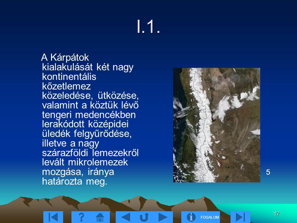 FOGALOM 17 I.1. A Kárpátok kialakulását két nagy kontinentális kőzetlemez közeledése, ütközése, valamint a köztük lévő tengeri medencékben lerakódott