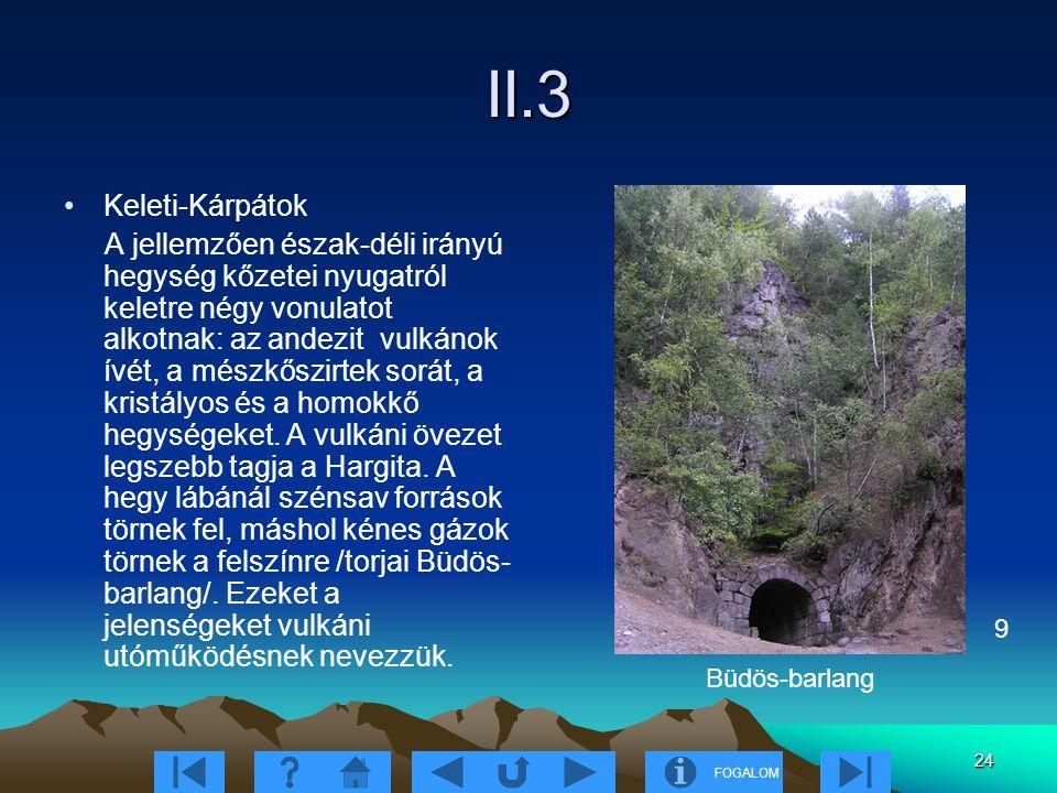 FOGALOM 24 II.3 Keleti-Kárpátok A jellemzően észak-déli irányú hegység kőzetei nyugatról keletre négy vonulatot alkotnak: az andezit vulkánok ívét, a