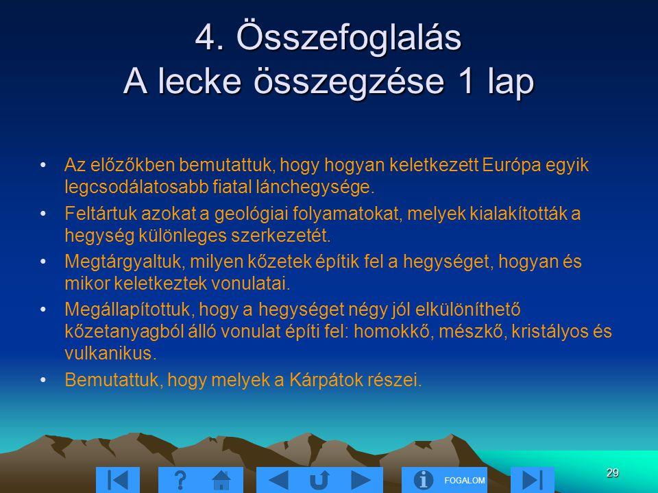 FOGALOM 29 4. Összefoglalás A lecke összegzése 1 lap Az előzőkben bemutattuk, hogy hogyan keletkezett Európa egyik legcsodálatosabb fiatal lánchegység
