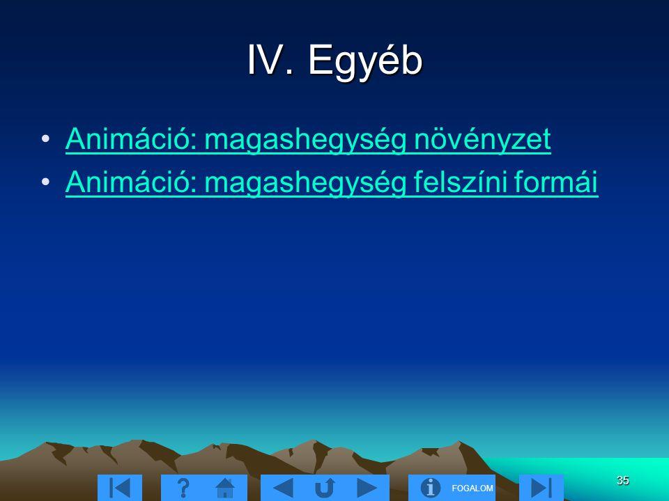 FOGALOM 35 IV. Egyéb Animáció: magashegység növényzet Animáció: magashegység felszíni formái