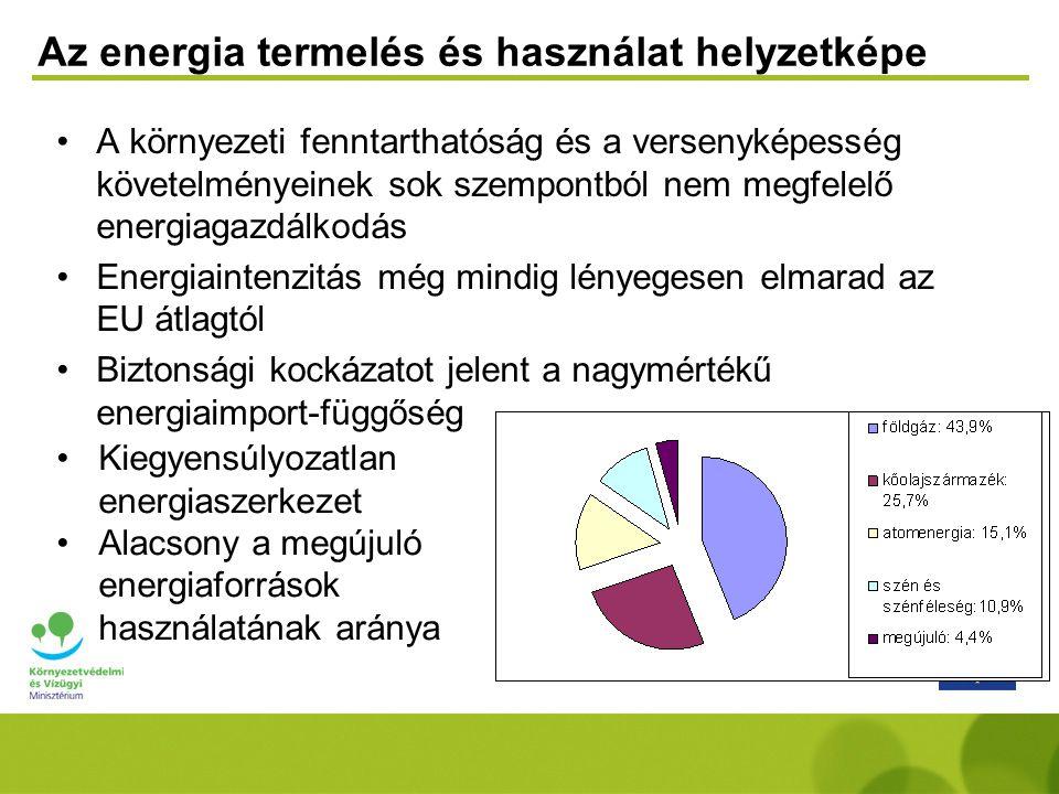 A megújulók hazai helyzete Összes megújuló energiatermelés: 4,7% Zöld villamosenergia részarány: 3,7% (így teljesítésre került a 2010-re vállalt uniós 3,6%-os cél) Célkitűzés: bio-üzemanyag részarányt 2010-re 5,75%-ra kell növelni, 2006-ban ez 1,7% volt Megújuló energiafelhasználás megoszlása 2006-ban 47% tűzifa 38,3% egyéb biomassza 1,7% bio-üzemanyag 0,8% biogáz 6,6 % geotermikus 1,2% vízienergia 0,3% szélenergia 0,2% napenergia 3,2% kommunális hulladék biológiailag lebomló része