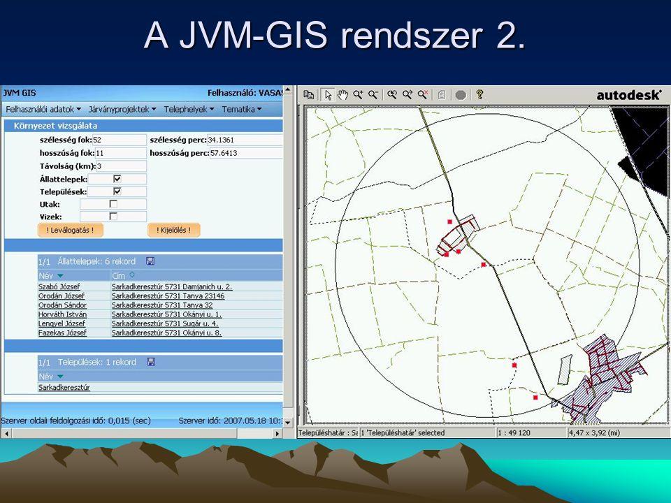 A JVM-GIS rendszer 2.