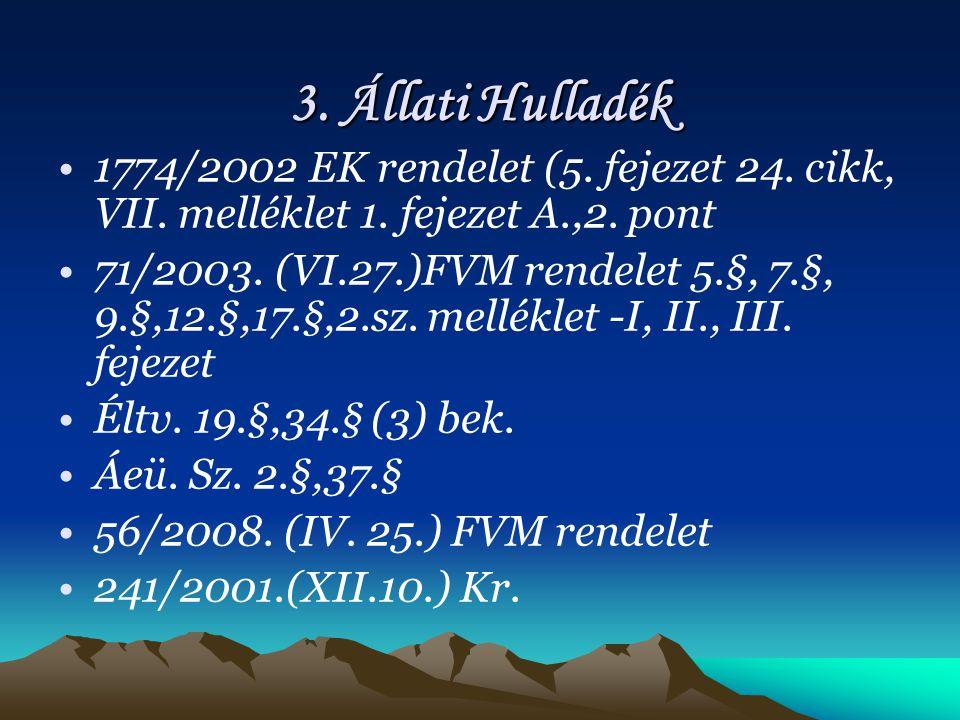 3.Állati Hulladék 1774/2002 EK rendelet (5. fejezet 24.