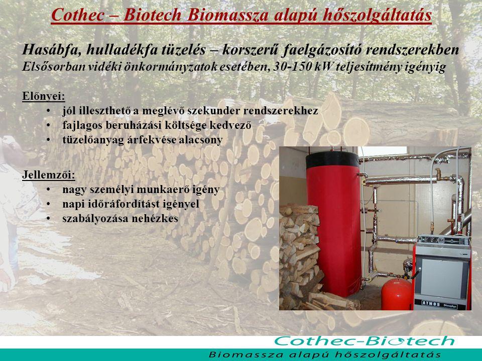 Cothec – Biotech Biomassza alapú hőszolgáltatás Hasábfa, hulladékfa tüzelés – korszerű faelgázosító rendszerekben Elsősorban vidéki önkormányzatok esetében, 30-150 kW teljesítmény igényig Előnyei: jól illeszthető a meglévő szekunder rendszerekhez fajlagos beruházási költsége kedvező tüzelőanyag árfekvése alacsony Jellemzői: nagy személyi munkaerő igény napi időráfordítást igényel szabályozása nehézkes