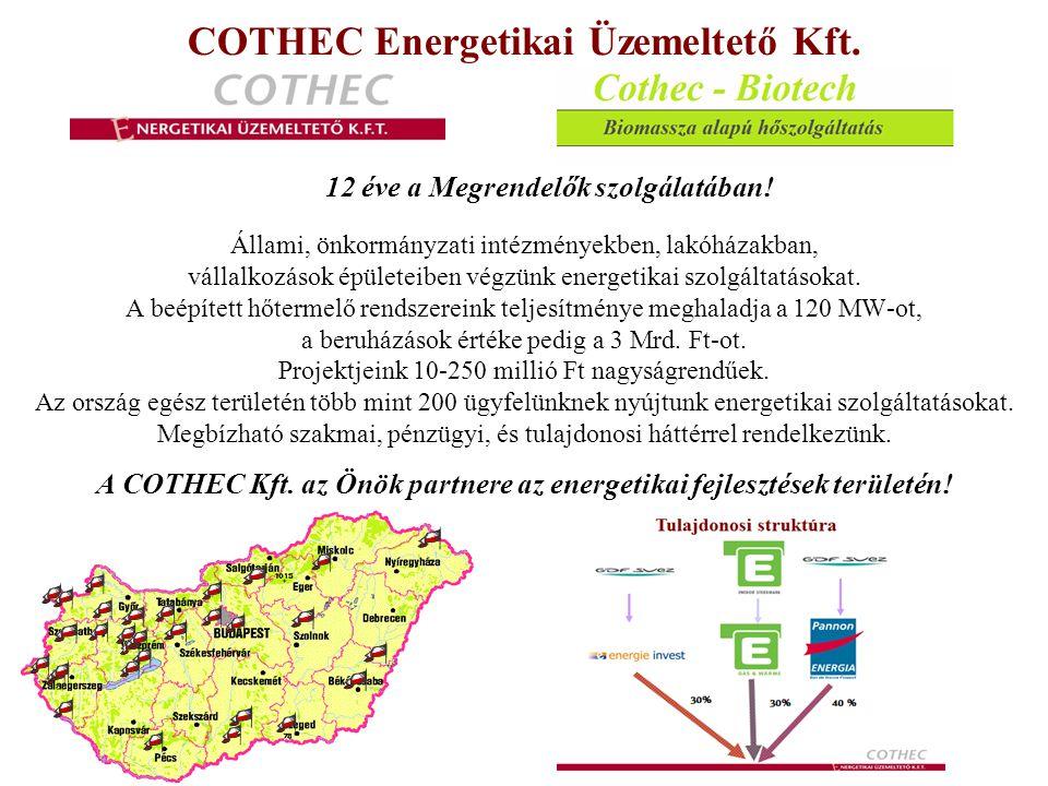 """Önkormányzati intézmények elavult hőellátó rendszereinek korszerűsítése energia- és költségmegtakarítás céljából Kis intézmények részére: Nagy pályáztatási ráfordítások elkerülése EU-s források ESCO-konstrukció keretében Előnyei: - Pályázatírás nem szükséges - Kedvező finanszírozás - 10-15-20 % beruházás támogatás - Nem kell épületszerkezeti energetikai megfelelőség Alternatív energia hasznosítás esetén: Optimális műszaki megoldás kidolgozása Önerő biztosítása a KEOP-pályázatoknál Előnyei: - Hőszolgáltatás esetén ÁFA-előny - Megújuló részarány növekedés - Földgáz függőség csökkentése - Hazai tüzelőanyag felhasználása Komplex energiaszolgáltatás: 60 millió Ft/év energia költség felett (akár több intézmény összevonva) Az előzetesen rögzített """"Bázis víz-, gáz-, és villamos energia fogyasztáshoz képest garantált energia mennyiség megtakarítást biztosít a komplex energiaszolgáltatási konstrukció Előnyök: - %-ban vállalt energia mennyiség megtakarítás - Energia beszerzés problémájától, kockázatától (szabadpiac) megszabadul - Az új rendszer által elért többlet megtakarítás adja az üzemeltetési, karbantartási, javítási, finanszírozási költségek fedezetét - Több intézmény összevonása esetén az elérhető megtakarítások fedezetet nyújtanak a nem megtérülő intézmények rekonstrukciójára is"""