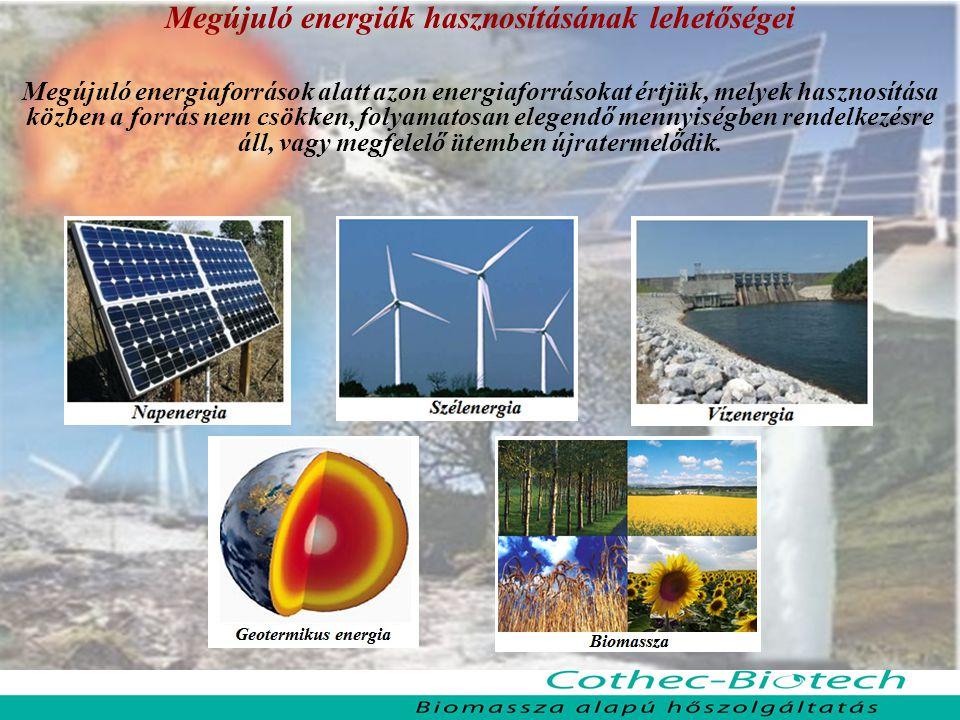 Megújuló energiák hasznosításának lehetőségei Megújuló energiaforrások alatt azon energiaforrásokat értjük, melyek hasznosítása közben a forrás nem csökken, folyamatosan elegendő mennyiségben rendelkezésre áll, vagy megfelelő ütemben újratermelődik.
