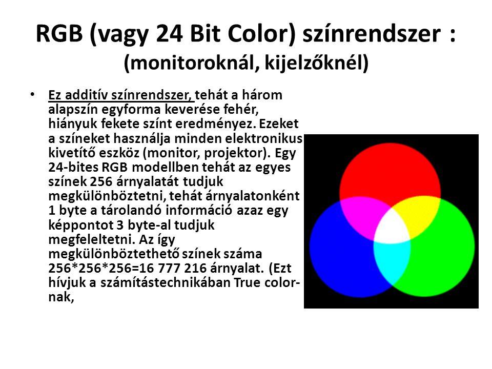 RGB (vagy 24 Bit Color) színrendszer : (monitoroknál, kijelzőknél) Ez additív színrendszer, tehát a három alapszín egyforma keverése fehér, hiányuk fekete színt eredményez.