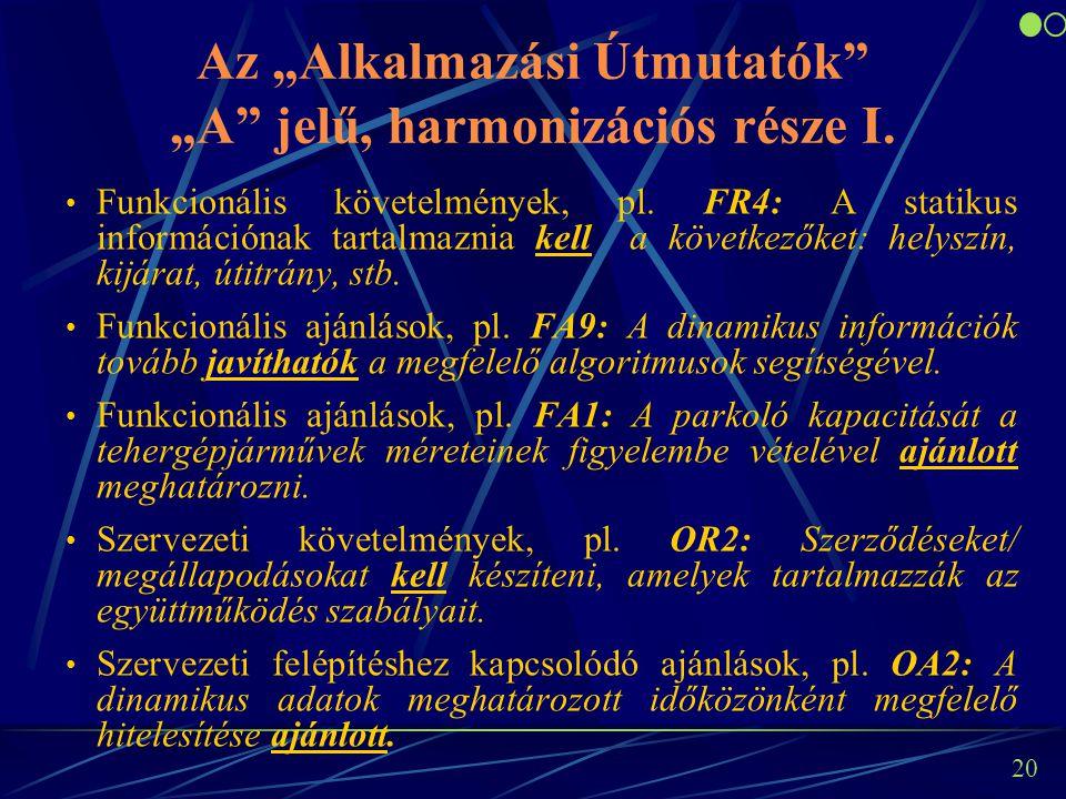 """20 Az """"Alkalmazási Útmutatók"""" """"A"""" jelű, harmonizációs része I. Funkcionális követelmények, pl. FR4: A statikus információnak tartalmaznia kell a követ"""