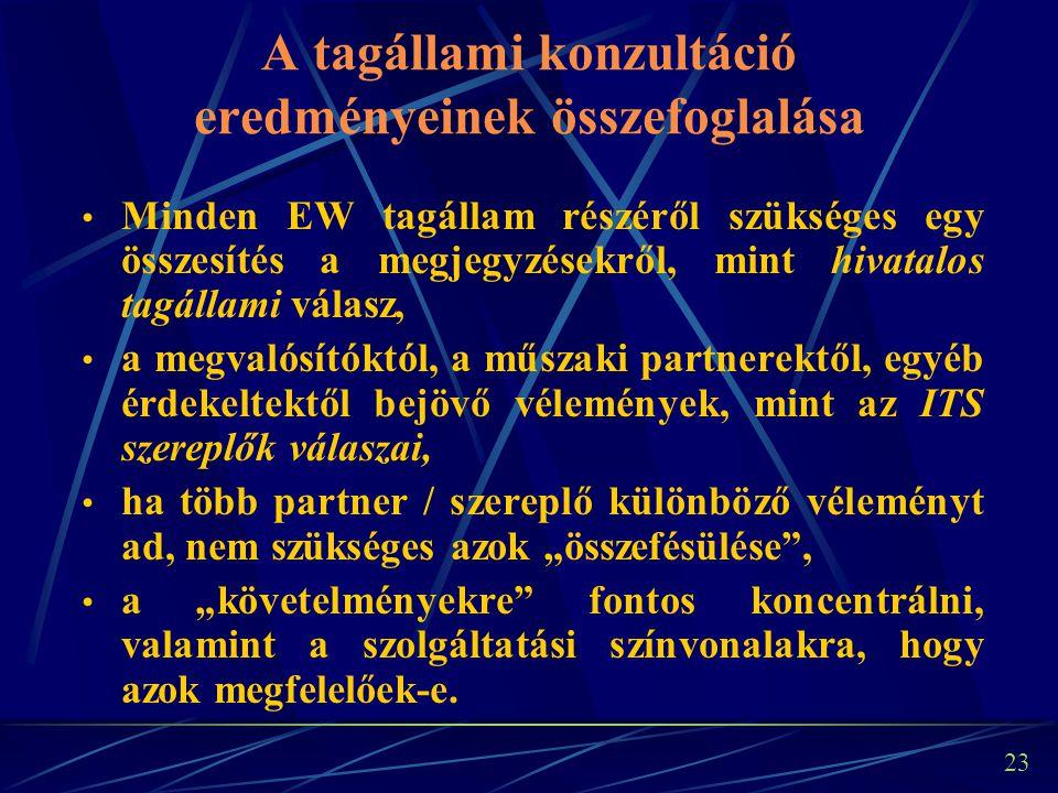 """23 A tagállami konzultáció eredményeinek összefoglalása Minden EW tagállam részéről szükséges egy összesítés a megjegyzésekről, mint hivatalos tagállami válasz, a megvalósítóktól, a műszaki partnerektől, egyéb érdekeltektől bejövő vélemények, mint az ITS szereplők válaszai, ha több partner / szereplő különböző véleményt ad, nem szükséges azok """"összefésülése , a """"követelményekre fontos koncentrálni, valamint a szolgáltatási színvonalakra, hogy azok megfelelőek-e."""