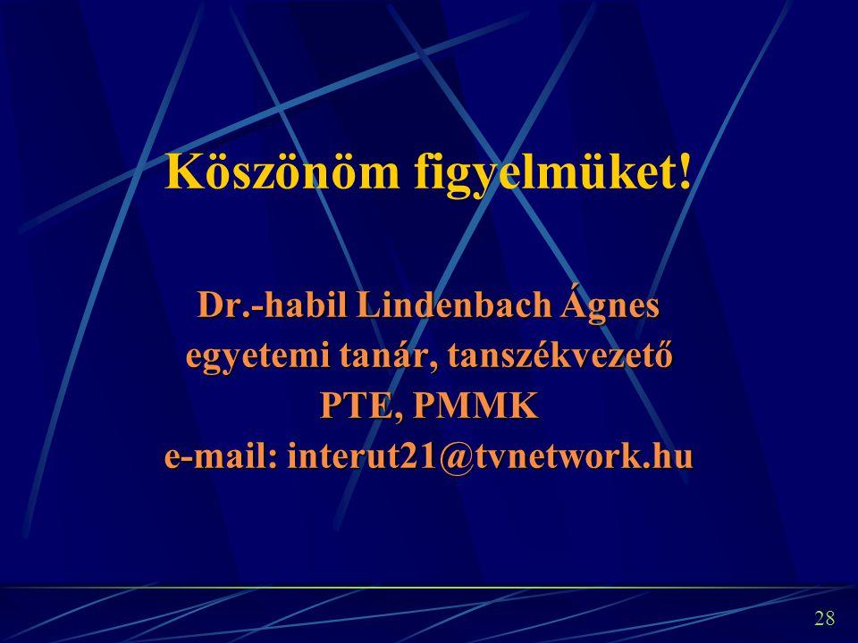 28 Köszönöm figyelmüket! Dr.-habil Lindenbach Ágnes egyetemi tanár, tanszékvezető PTE, PMMK e-mail: interut21@tvnetwork.hu