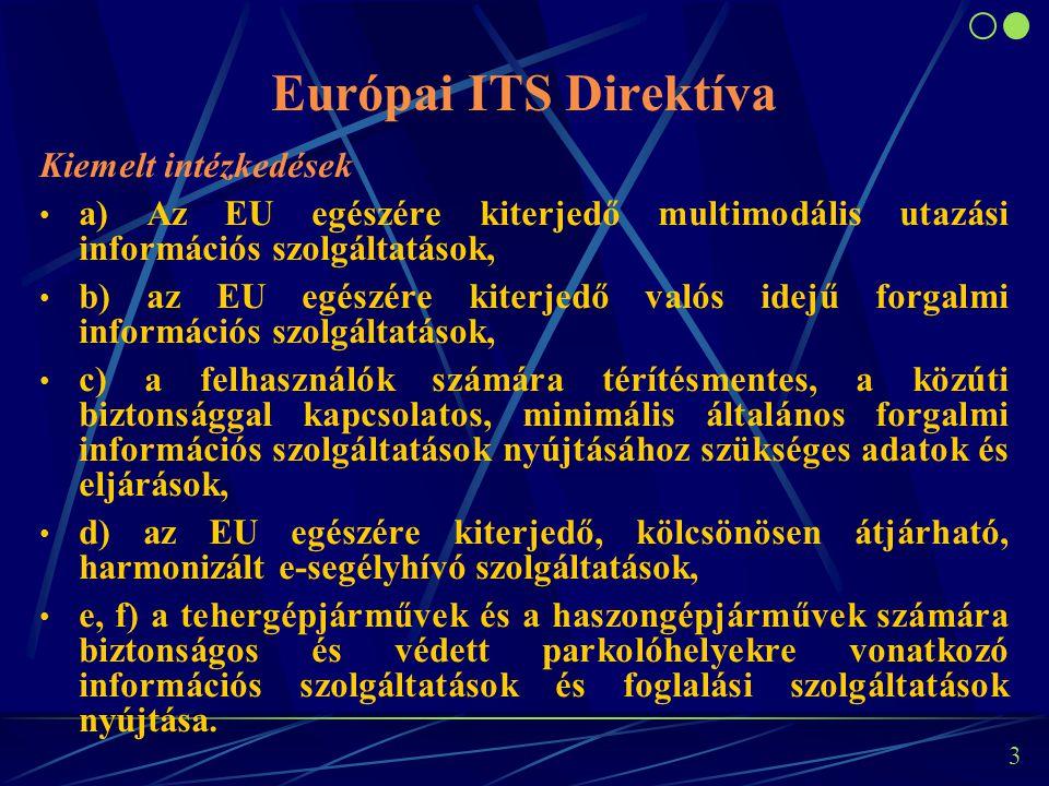 3 Kiemelt intézkedések a) Az EU egészére kiterjedő multimodális utazási információs szolgáltatások, b) az EU egészére kiterjedő valós idejű forgalmi i