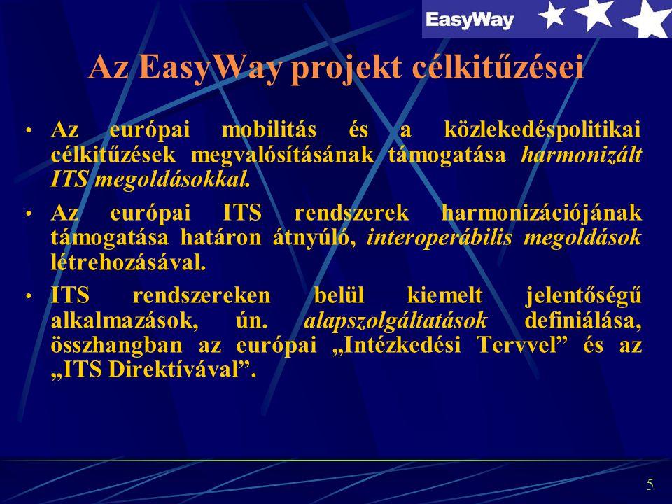 5 Az EasyWay projekt célkitűzései Az európai mobilitás és a közlekedéspolitikai célkitűzések megvalósításának támogatása harmonizált ITS megoldásokkal.