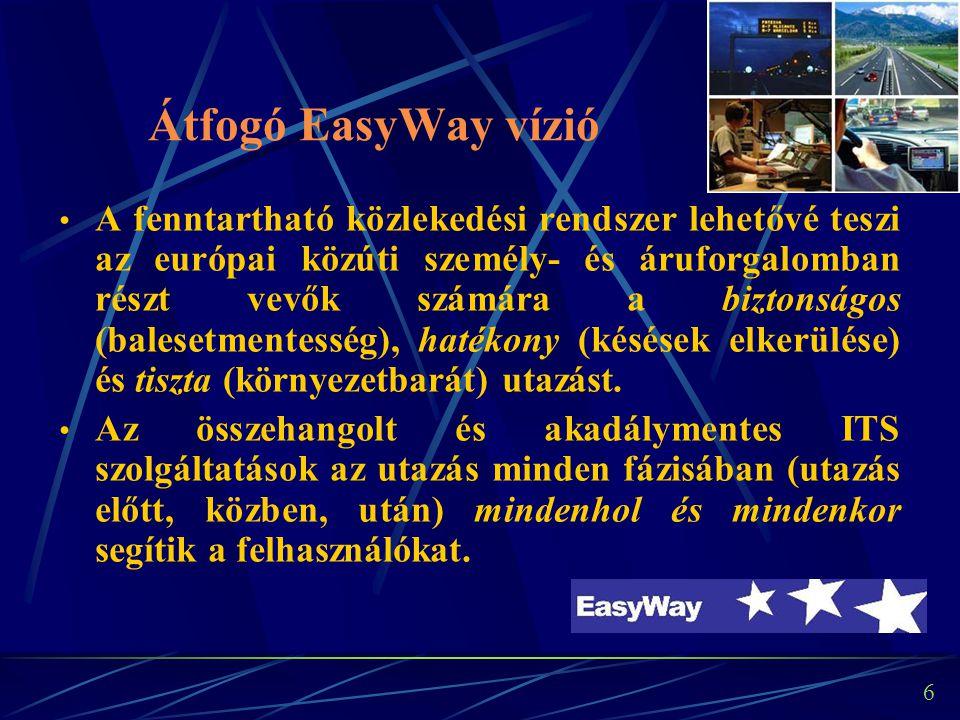 6 Átfogó EasyWay vízió A fenntartható közlekedési rendszer lehetővé teszi az európai közúti személy- és áruforgalomban részt vevők számára a biztonságos (balesetmentesség), hatékony (késések elkerülése) és tiszta (környezetbarát) utazást.