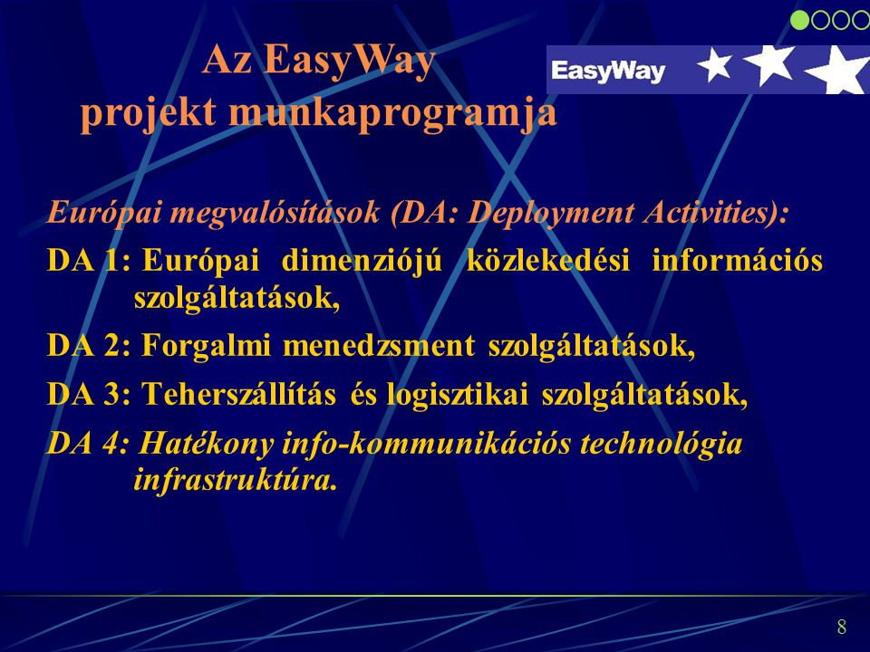 8 Európai megvalósítások (DA: Deployment Activities): DA 1: Európai dimenziójú közlekedési információs szolgáltatások, DA 2: Forgalmi menedzsment szolgáltatások, DA 3: Teherszállítás és logisztikai szolgáltatások, DA 4: Hatékony info-kommunikációs technológia infrastruktúra.