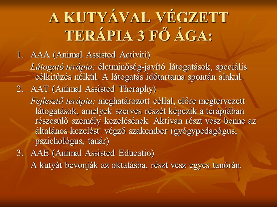 A KUTYÁVAL VÉGZETT TERÁPIA 3 FŐ ÁGA: 1. AAA (Animal Assisted Activiti) Látogató terápia: életminőség-javító látogatások, speciális célkitűzés nélkül.