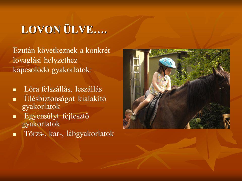 LOVON ÜLVE…. Ezután következnek a konkrét lovaglási helyzethez kapcsolódó gyakorlatok: Lóra felszállás, leszállás Ülésbiztonságot kialakító gyakorlato