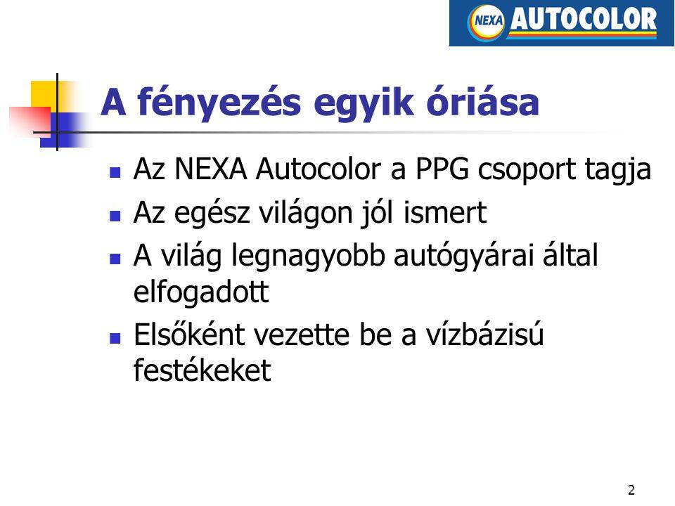 2 A fényezés egyik óriása Az NEXA Autocolor a PPG csoport tagja Az egész világon jól ismert A világ legnagyobb autógyárai által elfogadott Elsőként vezette be a vízbázisú festékeket