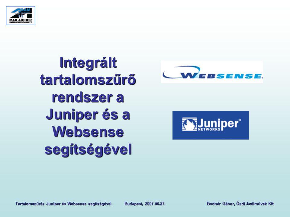Integrált tartalomszűrő rendszer a Juniper és a Websense segítségével Tartalomszűrés Juniper és Websense segítségével.