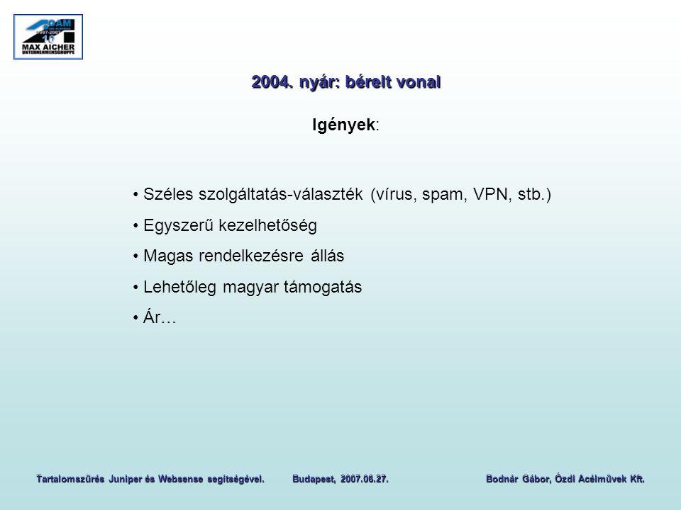 Tartalomszűrés Juniper és Websense segítségével. Budapest, 2007.06.27.