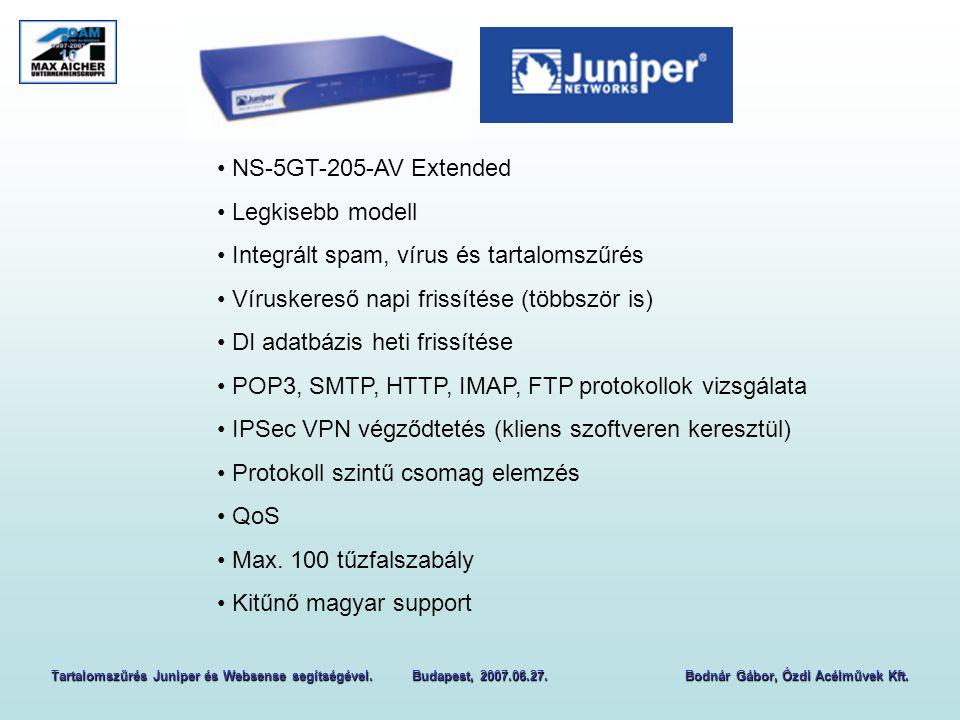 NS-5GT-205-AV Extended Legkisebb modell Integrált spam, vírus és tartalomszűrés Víruskereső napi frissítése (többször is) DI adatbázis heti frissítése POP3, SMTP, HTTP, IMAP, FTP protokollok vizsgálata IPSec VPN végződtetés (kliens szoftveren keresztül) Protokoll szintű csomag elemzés QoS Max.