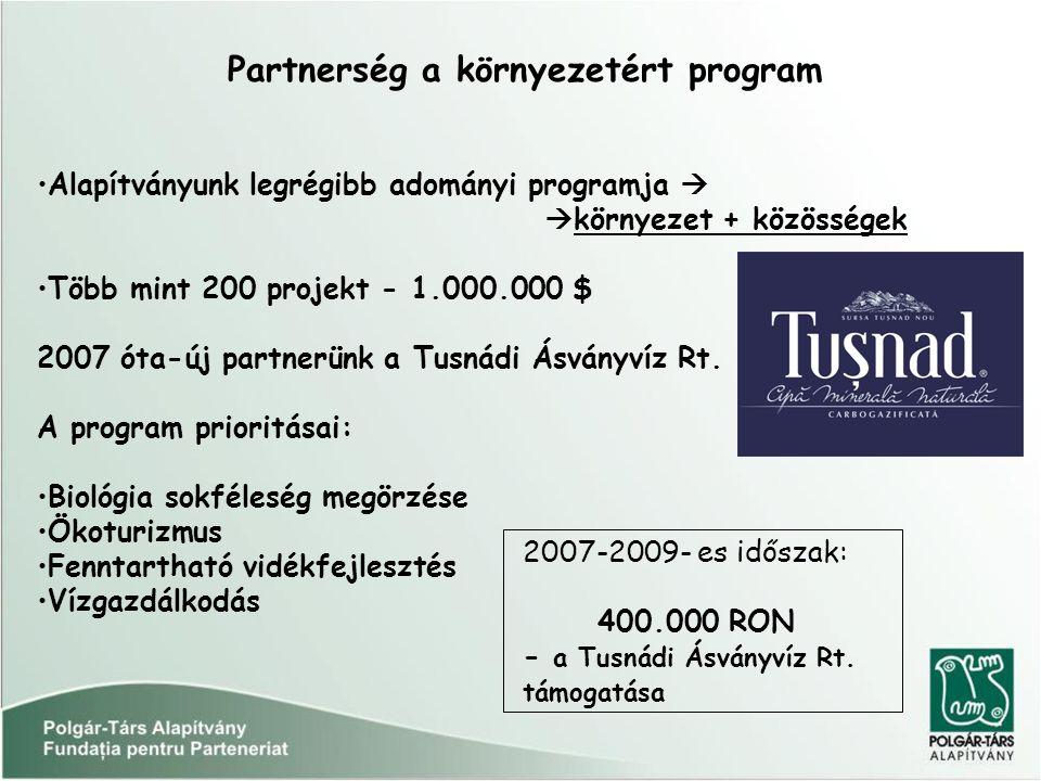 Partnerség a környezetért program Alapítványunk legrégibb adományi programja   környezet + közösségek Több mint 200 projekt - 1.000.000 $ 2007 óta-új partnerünk a Tusnádi Ásványvíz Rt.