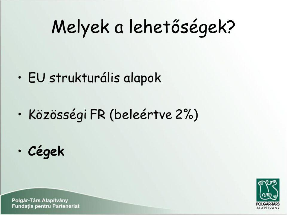 Melyek a lehetőségek? EU strukturális alapok Közösségi FR (beleértve 2%) Cégek