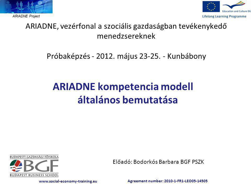 Agreement number: 2010-1-FR1-LEO05-14505 www.social-economy-training.eu ARIADNE Project ARIADNE, vezérfonal a szociális gazdaságban tevékenykedő menedzsereknek Próbaképzés - 2012.