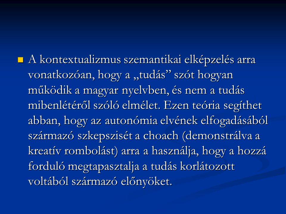 """A kontextualizmus szemantikai elképzelés arra vonatkozóan, hogy a """"tudás szót hogyan működik a magyar nyelvben, és nem a tudás mibenlétéről szóló elmélet."""