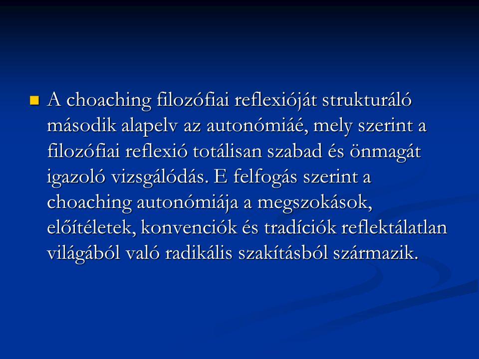 A choaching filozófiai reflexióját strukturáló második alapelv az autonómiáé, mely szerint a filozófiai reflexió totálisan szabad és önmagát igazoló vizsgálódás.